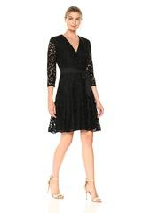 ELLEN TRACY Women's Lace Faux Wrap Dress