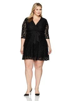 Ellen Tracy Women's Lace Faux Wrap Dress-Plus Size  20W