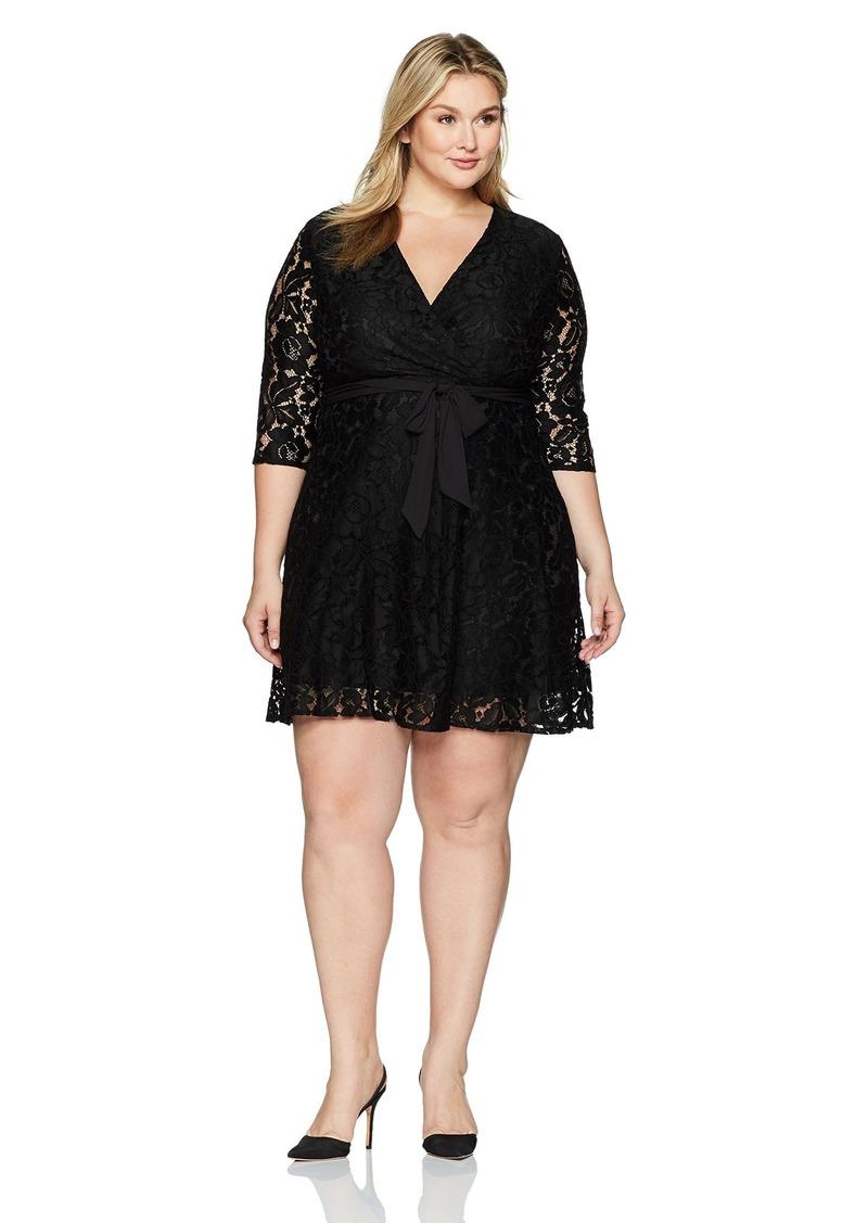 Ellen Tracy Ellen Tracy Womens Lace Faux Wrap Dress Plus Size W