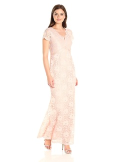 Ellen Tracy Women's Lace Gown with Scallopped Edges