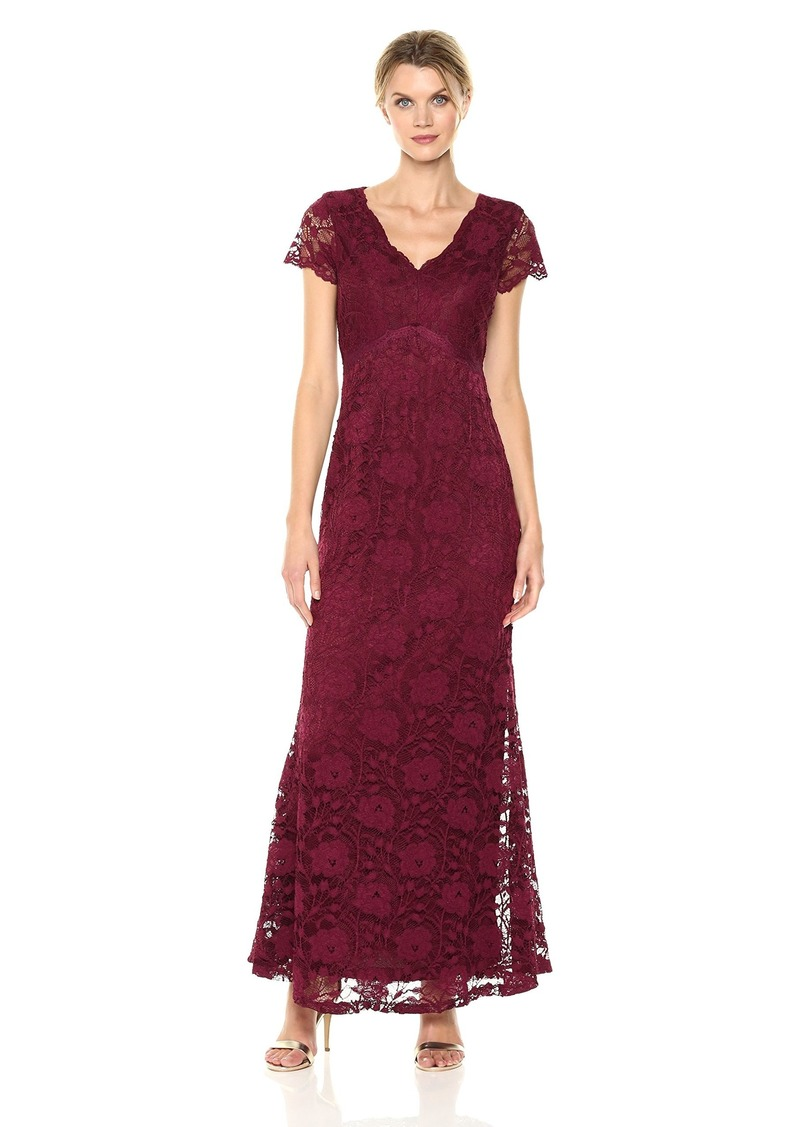 ELLEN TRACY Women's Lace Gown with Short Sleeve