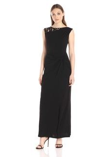 ELLEN TRACY Women's  Lace Insert Side Knot Gown