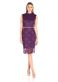 Ellen Tracy Women's Lace Mock Neck Dress with Belt