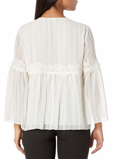 ELLEN TRACY Women's Lace Trim Soft Blouse el/Cream Petite Medium