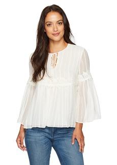 Ellen Tracy Women's Lace Trim Soft Blouse  Petite Large
