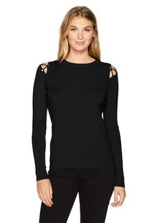 Ellen Tracy Women's Lace up Shoulder Sweater  M