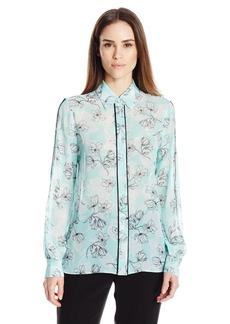 ELLEN TRACY Women's Lattice Inset Pajama Shirt  M