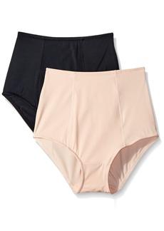 Ellen Tracy Women's Lightweight 2 Pack Brief Shaper Panty Black/Sun Beige