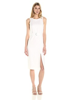 Ellen Tracy Women's Linen Belted Column Dress