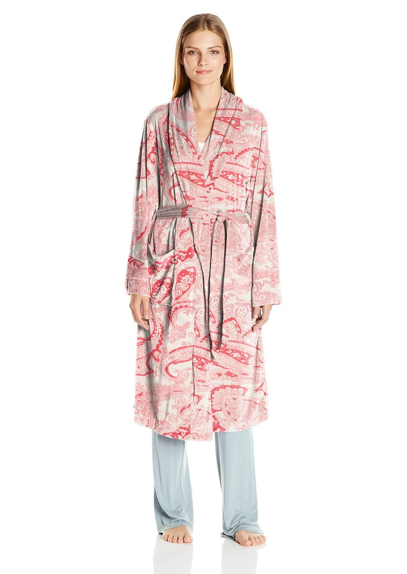 ELLEN TRACY Women's Long Baby Fleece Komono Wrap Robe