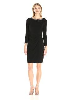 Ellen Tracy Women's Long Sleeve Jersey Dress with a Jeweled Neckine