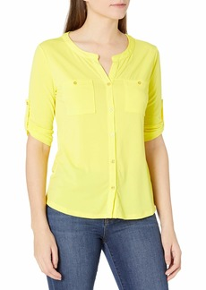 ELLEN TRACY Women's Long Sleeve Split Neck Button Up Equipment Top  S