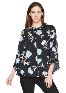 Ellen Tracy Women's Long Sleeve Top with Pleated Detail Premiere Fleur-Ngt M