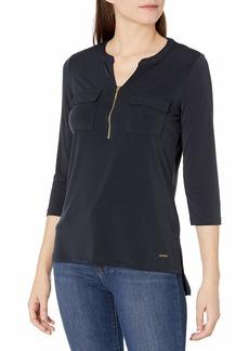 ELLEN TRACY Women's Long Sleeve Zipper Front Utility Top  S