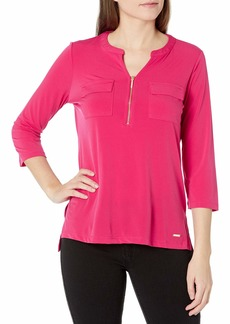 ELLEN TRACY Women's Long Sleeve Zipper Front Utility Top  XL
