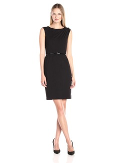 Ellen Tracy Women's Luxe Stretch Belted Sheath Dress