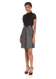 Ellen Tracy Women's Luxe Tweed Lace Combo Dress Black/Ivory