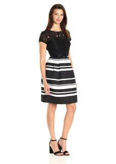 Ellen Tracy Women's Mixed Media Dress with Pique Stripe Combo