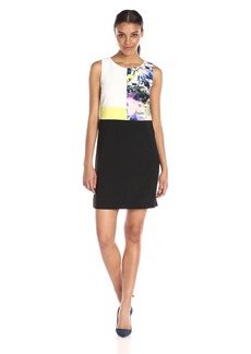 Ellen Tracy Women's Mixed Media Shift Dress
