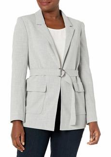 ELLEN TRACY Women's Notch Collar Blazer with Patch Pockets