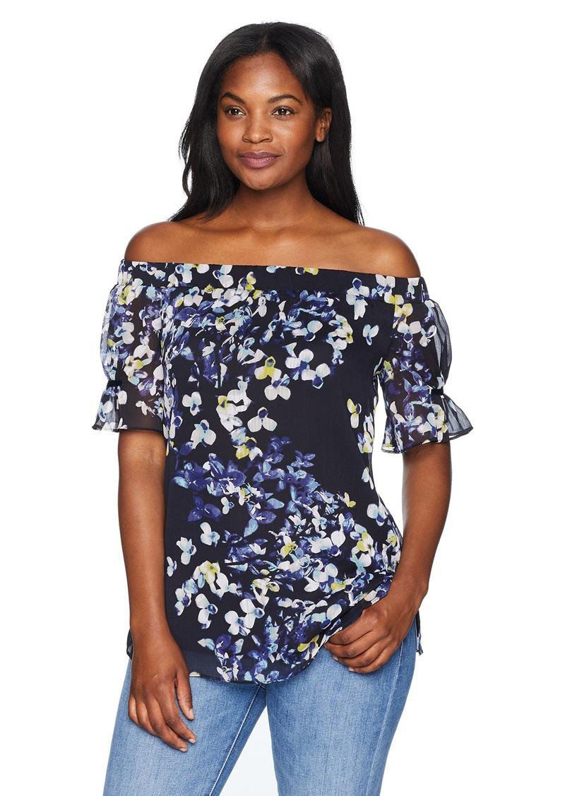 ELLEN TRACY Women's Off Shoulder Blouse W/Gathered Sleeves  XL