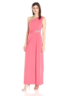 Ellen Tracy Women's One Shoulder Gown with Embellishement