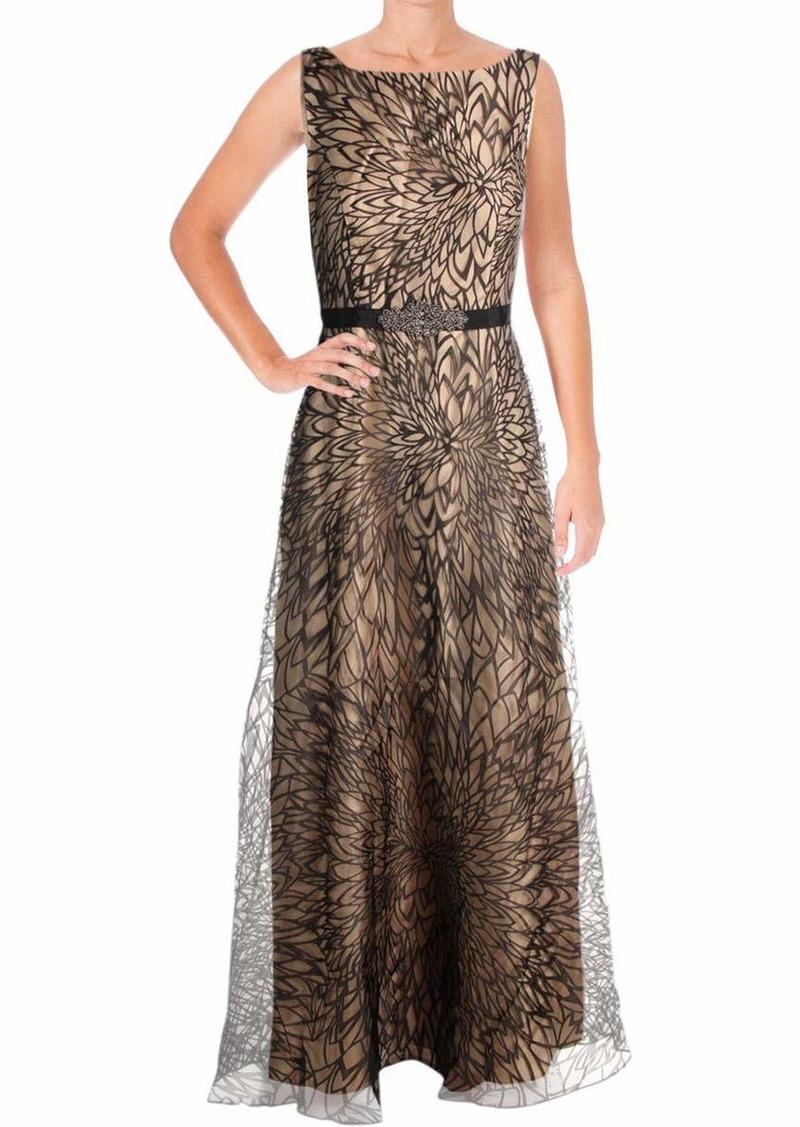 ELLEN TRACY Women's Organza Print Dress with Rhinestone Detail