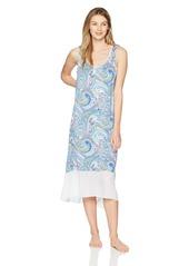 ELLEN TRACY Women's Paisley Midi Nightgown Wave XL