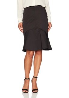 ELLEN TRACY Women's Petite Flounce Hem Skirt el/Black 10P