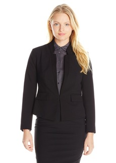 Ellen Tracy Women's Petite Inverted Rever Jacket Black