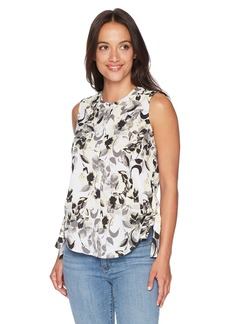 Ellen Tracy Women's Petite Sleeveless Ruched Blouse Ava Blooms-White PM