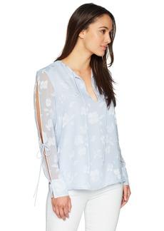 Ellen Tracy Women's Petite Tie Slit Sleeve Blouse  PS