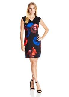 Ellen Tracy Women's Size V-Neck Cap Sleeve Sheath
