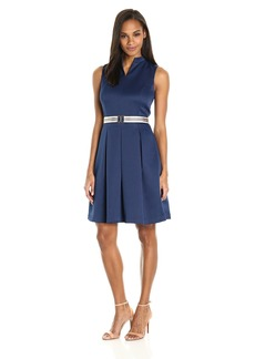ELLEN TRACY Women's Pique Fit and Flare Dress with Grosgrain Belt