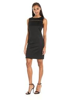 Ellen Tracy Women's Pique Wear to Work Dress with Embellishment