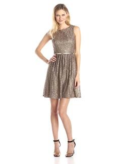 Ellen Tracy Women's Pleated Lace dress with Belt