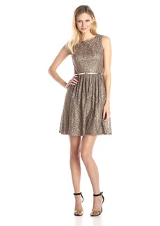 Ellen Tracy Women's Pleated Lace Dress with Belt