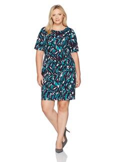 ELLEN TRACY Women's Plus Printed Ponte Dress-Pluz Size
