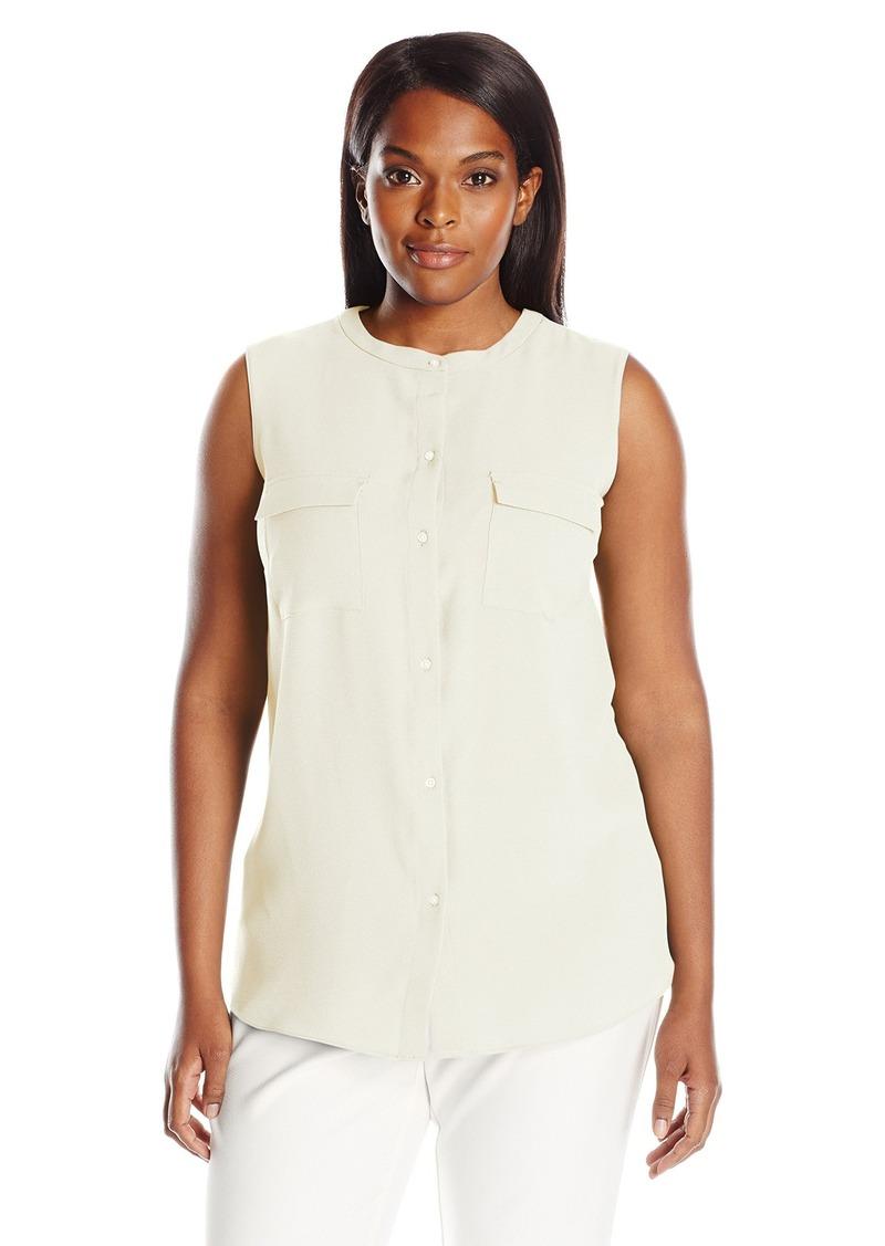 96a6d28a8035b Ellen Tracy Ellen Tracy Women s Plus Size 2 Pocket Sleeveless Shirt ...