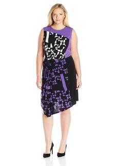 Ellen Tracy Women's Plus Size Asymmetrical Twist Dress  1X