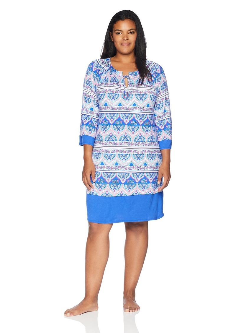 ELLEN TRACY Women's Plus Size Batik Paisley Tunic Border 1X