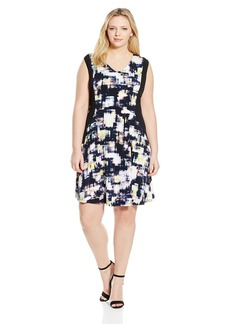 Ellen Tracy Women's Plus-Size Contrast Fit and Flare Dress  1X