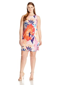 ELLEN TRACY Women's Plus Size Floral Printed Ponte Dress