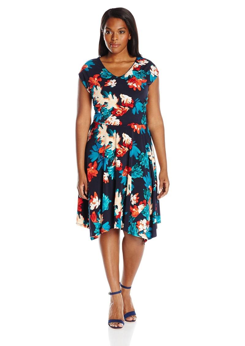 Ellen Tracy Ellen Tracy Womens Plus Size Handkerchief Hem Knit Midi
