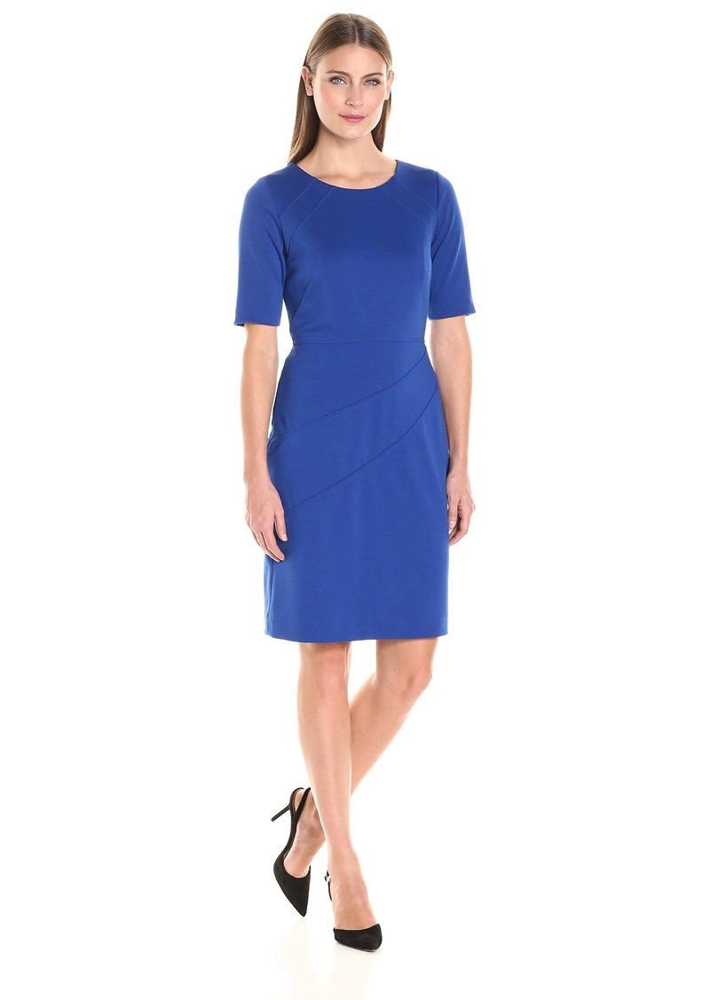 ELLEN TRACY Women's Ponte 3/4 Sleeve Dress