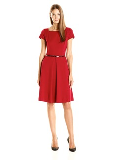 Ellen Tracy Women's Ponte Belted Dress