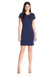 Ellen Tracy Women's Ponte Dress with Grommett Detail