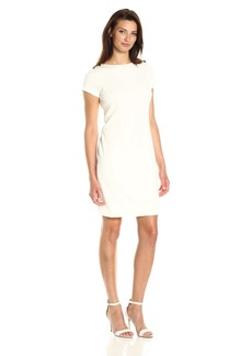 Ellen Tracy Women's Ponte Dress with Shoulder Hardware Detail