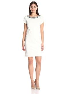 Ellen Tracy Women's Ponte Short Sleeve Dress with Beaded Neckline