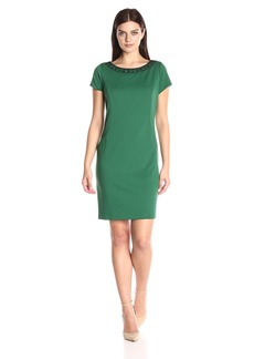 ELLEN TRACY Women's Ponte Short Sleeve Dress with Beaded Neckline
